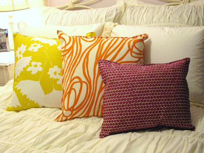 Hable Construction Pillows, magenta bead