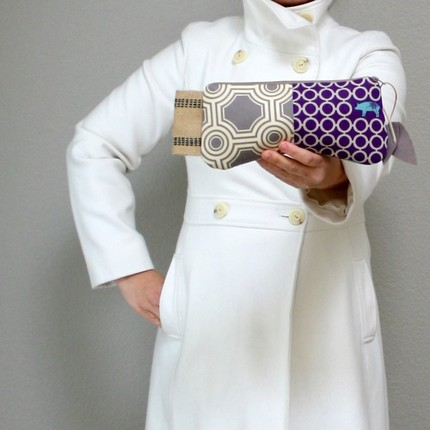 purple circles pouch by DrikaB