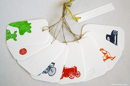 summer letterpress gift tags