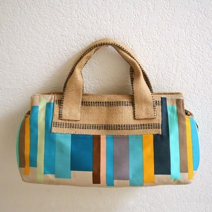 teal stripes handheld satchel