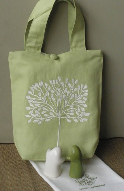 white tree cotton lunch bag
