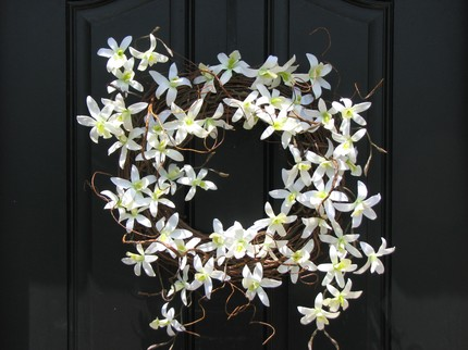 white orchid wreath