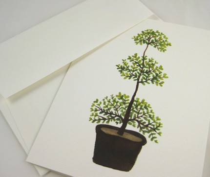 triple myrtle topiary note cards